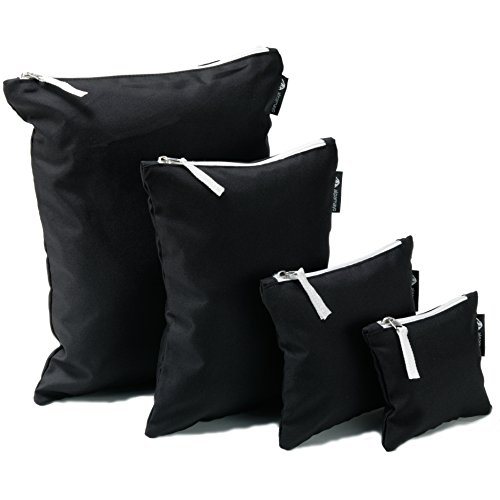 Alpamayo® Reißverschlusstaschen 4er Set, Packtaschen in unterschiedlichen Größen für Reisen, ideal für Ordnung in Koffer, Rucksack oder Handgepäck, schwarz