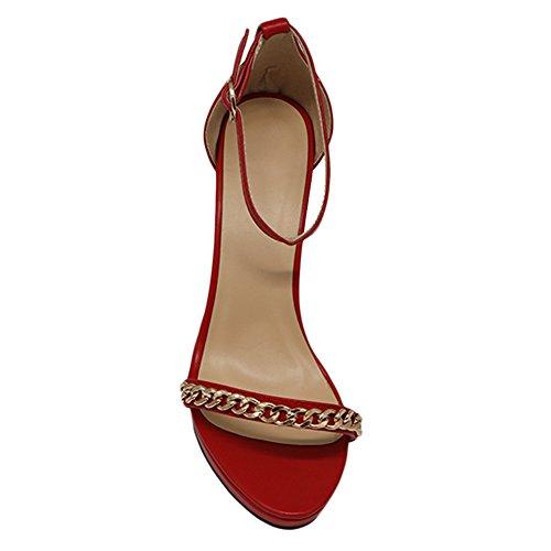 MERUMOTE Damen Y-193 Strappy Sandals Stilettos Heels Thin Strap mit Metallkette Sommer Sandaletten Rot-Matt