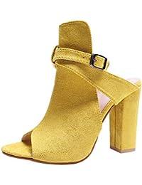 Mujer Zapatos Sandalias de fiesta citas playa,❤️ Sonnena Sandalias de cuña de la multitud de la moda de las mujeres flojas del peep Toe Sandalias del remache Zapatos de tacón alto
