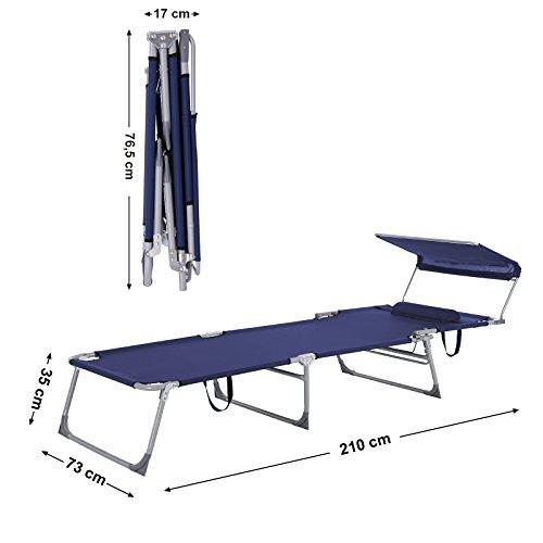 SONGMICS Sonnenliege mit Sonnendach extra groß, verstellbar, Liegestuhl klappbar mit Kopfkissen ,max. Belastbarkeit: 250 kg Grau 210 x 72 x 34 cm (Blau) - 6