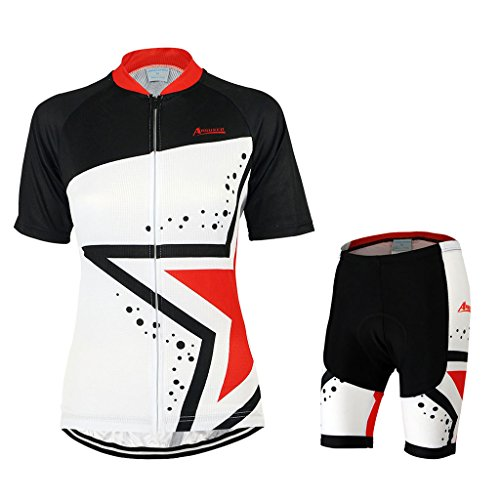GWELL Damen Fahrradtrikot Set Fahrrad Anzug Fahrradbekleidung Trikot Kurzarm + Radhose mit 3D Sitzpolster schwarz rot XL