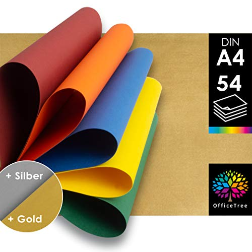 OfficeTree 54 Papel Color A4 - 220g/m² niños cartulina