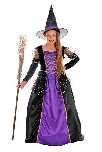 Schwarz Hexe Mädchen Kostüm - Magicoo Prinzessin Hexenkostüm Kinder Mädchen lila schwarz Gold - Kleid & Hut - Gr 110 bis 140 - Halloween Hexe-Kostüm Kind (134/140)
