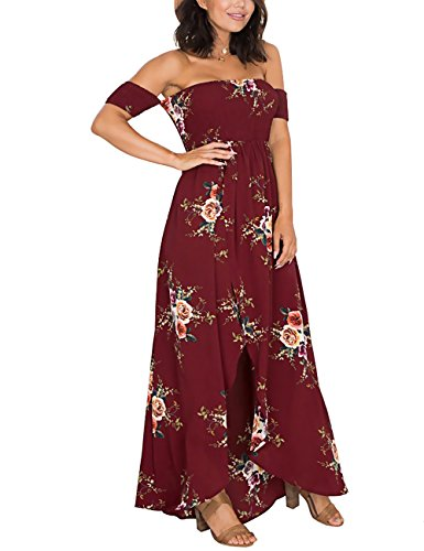 ISASSY Women's Off Shoulder Floral Print Split Maxi Dress for Summer Evening Party Beach Holiday Red M(UK6-8)/(EU36-38)