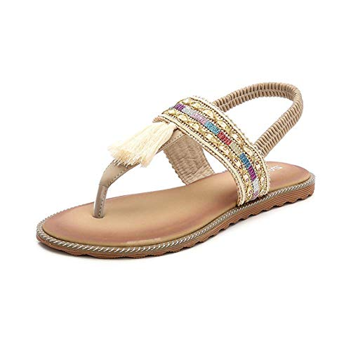 Damen Sandalen Sommer Flip Flops Bohemia Flache Schuhe Geflochtene T-Strap Strand Hausschuhe,Gold,35EU