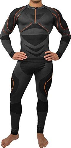 Polar Husky® Sport Funktionswäsche Herren Set (Hemd + Hose) Seamless Ski-, Thermo- & Funktionswäsche - Funktionsunterwäsche in versch. Farben Farbe Schwarz/Orange Größe S/M