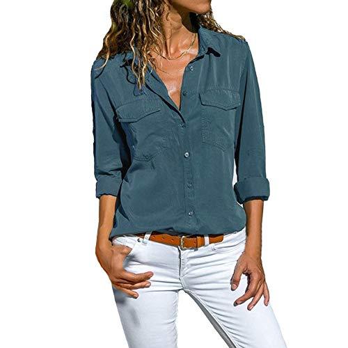 DoubleYI Bluse Damen Langarm Revers Kragen Hemdbluse V Ausschnitt Langarmshirts Blusen Einfarbig Business mit Knopfleiste Hemd Oberteile Elegant Herbst und Mode Sommer T-Shirt TopS-XXXXL (M, BU)