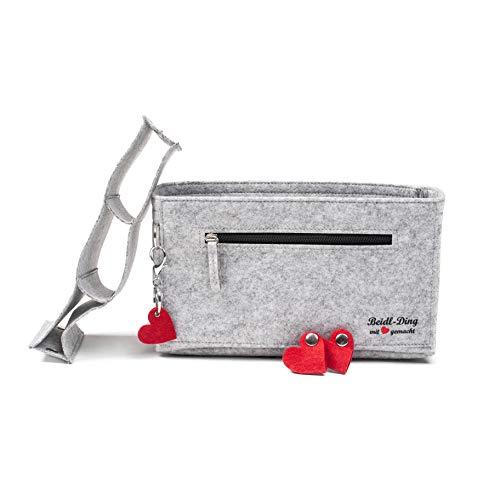 Taschenorganizer von Beidl-Ding + Schlüsselanhänger & Kopfhörer-Organizer | Taschen Organisator aus Filz | viele Fächer, Reißverschluss-Tasche u.v.m. (Hellgrau meliert, M (L 27 x B 10 x H 16 cm))