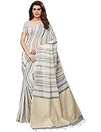 e7d915dfd9 AKHILAM Women s Linen Saree with Unstitched Blouse Piece (Grey 2PRPMX22B)