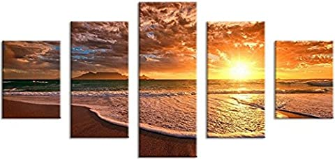 OBELLA New Top Wall Art Canvas Prints 5 Pieces || Sunset Sea Waves || Modern Contemporary Posters Oil Paintings Prints and Pictures Photo Image Wall Art Prints on Canvas Painting for Home Bedroom Living Room Wall Decor Christmas Gifts Decoration - Frameless