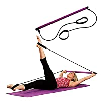 Portable Pilates Bar Gym Aerobic Stick Yoga Exercise Bar Pilates Trainer Fitness Rod With Foot Loop