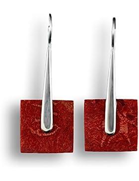 ISLAND PIERCINGS Edle 925er Silber und Rote Koralle Ohrringe Hänger Design Handarbeit SER167
