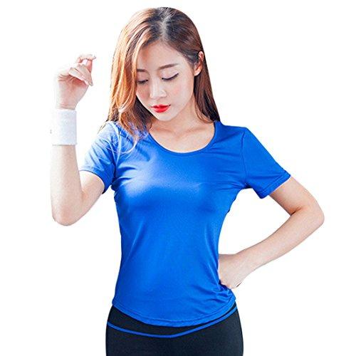 Vertvie Damen Sport T-shirt Ringerrücken Blau