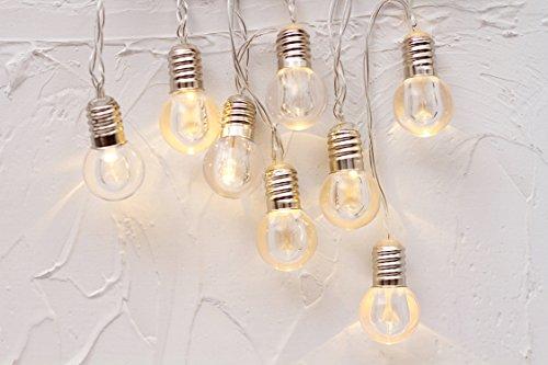 10er LED Kristall Glühbirne Lichterkette Batteriebetrieb Globe Kugeln Innen Romantisch Deko Licht Schnur Warmweiß gresonic (Globe Glas Lichterketten)