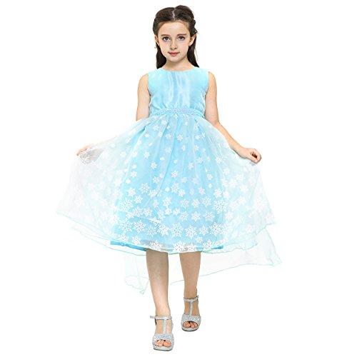 in Elsa Mädchen Ball-Kleid Kinder-Kostüm Tüll-Rock – Disney inspiriert, Glitzer, Rüschen, Pailletten – Karneval, Weihnachten (Frozen Elsa Schnee Königin Kostüm)