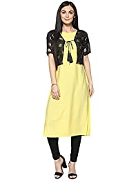 Ziyaa Women's Yellow Color Foil Print Straight Kurta