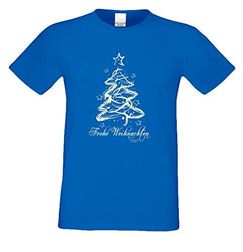 bequemes Shirt Herren Männer Motiv Frohe Weihnachten als Geschenk, für die Festtage kurzarm Outfit T-Shirt Kostüm Christmas Farbe: royal-blau Royal-Blau
