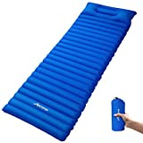 MOVTOTOP Camping Sleeping Pad, 200x60x9cm Inflatable Air Mattress, Comfortable Sleeping Mat Attached Pillow