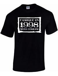 T-Shirt Anniversaire Homme 18 Ans Fabriqué En 1998 Pièces d'Origine