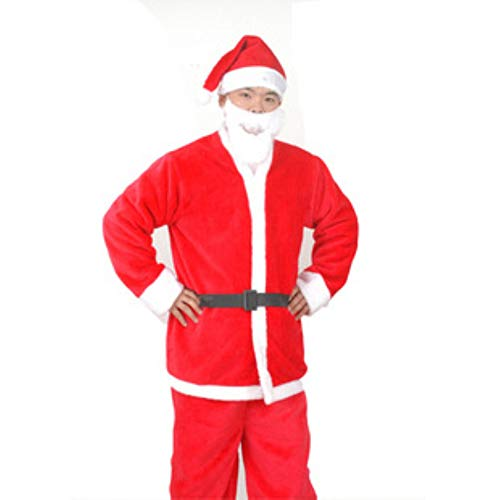 DOLPHINEGG 5Pieces Santa Claus Erwachsenen Kostüm-Kleidung + Hosen + Bart + Gürtel + Weihnachtsmütze Geeignet Für Große Weihnachtsveranstaltungen Familie Weihnachtsfeier Freunde Weihnachtsfeier