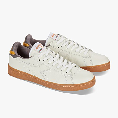 Diadora Game L Low, Baskets Homme C7004 - Bianco-grigio Prugna-oro