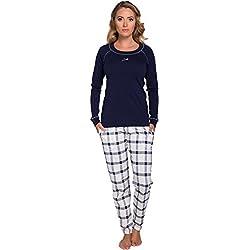 Italian Fashion IF Pijama Conjunto Camiseta y Pantalones Ropa de Cama Mujer 1RT2 0223 (Azul Marino, M)