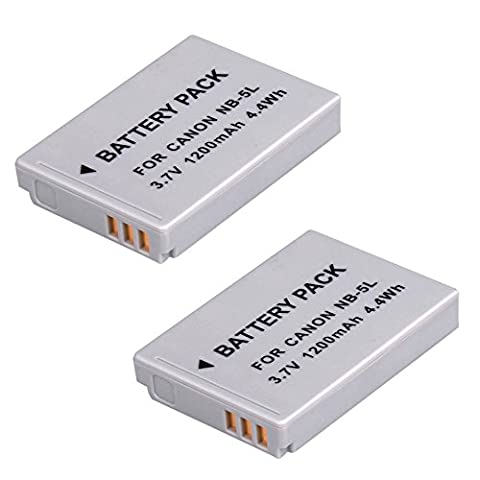 2x BPS High Capacity NB-5L Battery for Canon PowerShot SX200 IS,SX210 IS,SD990 IS,SD700 IS,SD790 IS,SD800 IS,SD850 IS,SD870 IS,SD880 IS,SD890 IS,SD900,SD950 IS,SD970 IS Digital