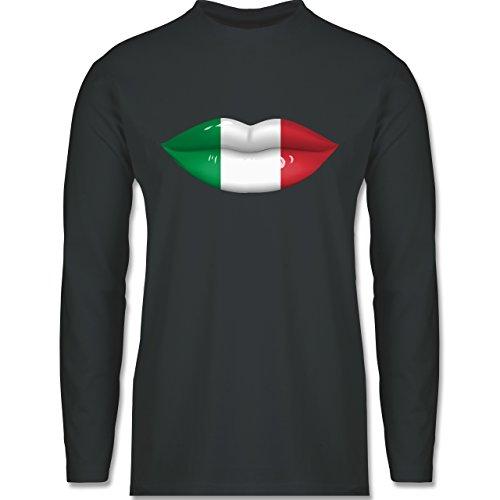 Shirtracer Länder - Lippen Bodypaint Italien - Herren Langarmshirt Dunkelgrau