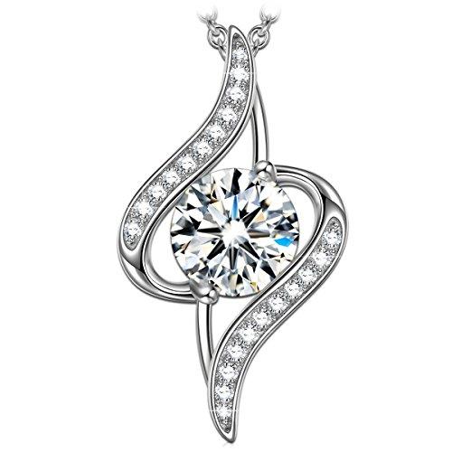 Princessa nina collana donna elegante 925 sterline d'argento ciondolo cubic zirconia gioielli regali per lei sua fidanzata moglie festa della mamma san valentino compleanno giorno di natale sorella