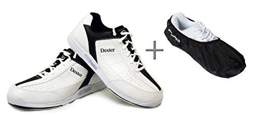 Bowling-Schuhe, Dexter Ricky III + Shoe Cover (Überzieher) Brunswick Defense, Damen und Herren, für Rechts- und Linkshänder, schwarz-weiß, Schuhgröße 38,5 bis 47 (schwarz-weiß, 44,5 (US 12)) (Schuhe Dexter Bowling)