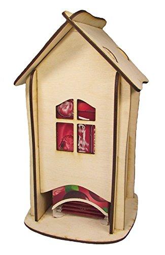Teehaus, Teebeutel-Spender, Teebox mit abnehmbarem Dach, Sperrholz unbehandelt