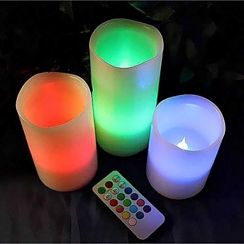 Gravidus 3-Teiliges Set LED Echtwachskerzen mit Farbwechsel