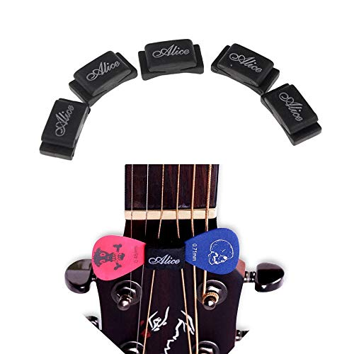 Plektrenhalter für Gitarren-Bass-Ukulele, Multi Packaged, 5 Stück pro Packung,Fix auf dem Headstock zwischen String 3&4, D&G