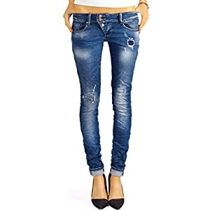 bestyledberlin Damen Skinny Jeans Destroyed