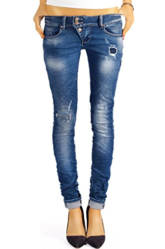 Bestyledberlin Damen Jeans Hosen Skinny Röhren Hüftjeans Destroyed j03f 36/S (Vintage-low Rise-stretch-denim)