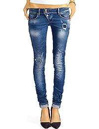 Bestyledberlin Damen Jeans Hosen Skinny Röhren Hüftjeans Destroyed j03f