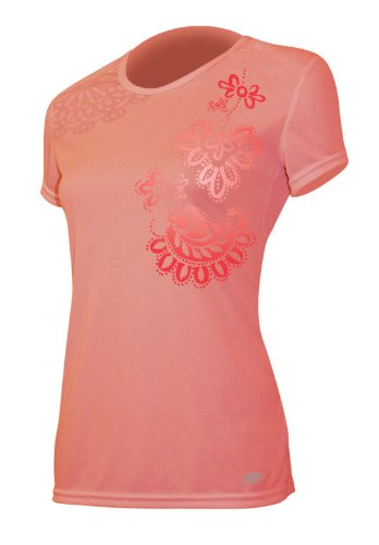 Paisley-scoop (AYG Damen Tech Seide Short Sleeve scoop-print T-Shirt, damen, Coral Paisley)