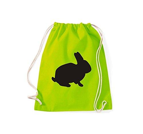 Tiermotive Kaninchen Turnbeutel Lime Zoo Hase Kultsack rabbit Gymsack dPttqr