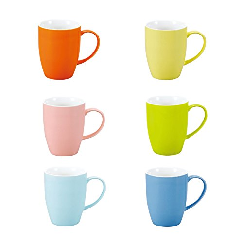 Panbado, 6-teilig Set Porzellan Tasse, 370ml Becherset, Kaffeetasse, Milch Tee Becher für Frühstück, Trinkbecher, Mehrfarbig Frühstück Becher-set