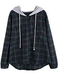 DIDK Damen Kariert Hemd Sweatshirt mit Kaputzen Hoodie Langarm Shirt Bluse  Oberteil 5b5aac5ce1