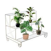 GOLDBEARUK Plant Steps White Metal 3 Tier Flower Display Stand Metal Plant Ladder 92cm
