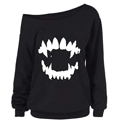 Böse Kostüm Hexe Westen Kinder Des - SEWORLD Halloween Kostüm Damenmode Halloween Gothic Punk Teufel Zähne Gedruckt Skew Kragen Bluse Shirt Sweatshirt Langarm Oberteil Kapuzen Hoodie Pullover Blusenoberteile(Schwarz,EU-42/CN-2XL)