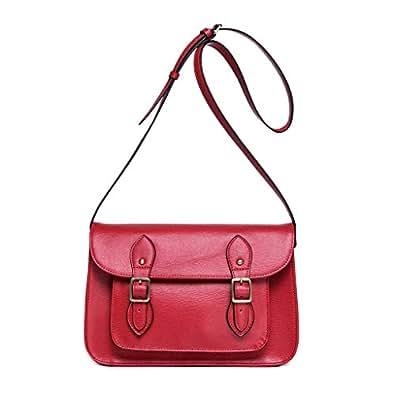 Woman's semi-rigid leather satchel bag with shoulder strap DUDU Red