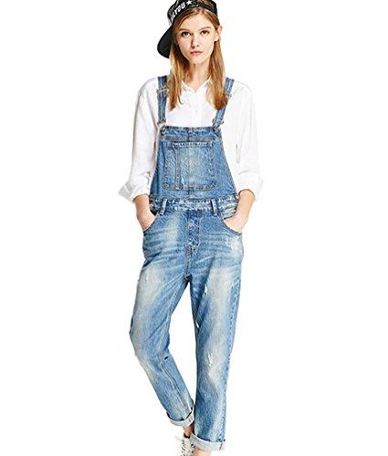 ZhiYuanAN Damen Jeans Latzhose Mode Denim Trägerhose Casual Lose Jeans Overall Jumpsuit