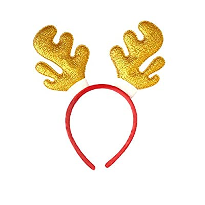 Amaone Christmas Headband, Shiny Glitter Sequin Reindeer Antler Hair Hoop Headwear Head Band Costume Accessories Decoration For Kids And Adults Xmas Holiday Party Decor Red Gold