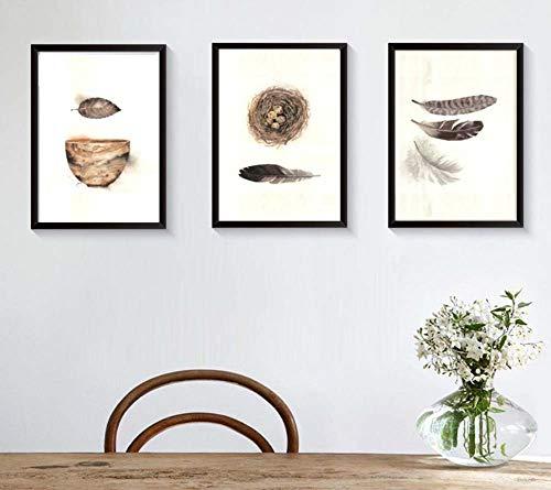 AA-Photo Frame XIKU Retro Abstrakte Deco Triptychon Malerei Modernen Minimalistischen Federwand Wohnzimmer Esszimmer Eingang Sofa Hintergrund Wand Holz Hängende gemälde (Größe: 30 * 40) -