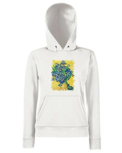 T-Shirtshock - Sweats a capuche Femme TDA0117 van gogh92 vaso con giaggioli viola su fondo giallo Blanc