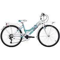 Bicicletta Bimba City Bike Daisy in Acciaio 24 Pollici Cambio Shimano 6 V bianco / azzurro