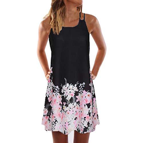 VEMOW Sommer Elegante Damen Frauen Lose Vintage Sleeveless 3D Blumendruck Bohe Casual Täglichen Party Strand Urlaub Tank Short Mini Kleid - 100% Cashmere Jacke