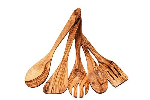 Olivenholz 5-teiliges Küchenhelfer Set -